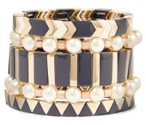 Suit Up Set aus Fünf Goldfarbenen Armbändern