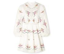 Allia Minikleid aus einer Bestickten Leinen-baumwollmischung