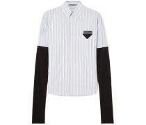 Gestreiftes Hemd aus Baumwollpopeline und Jersey