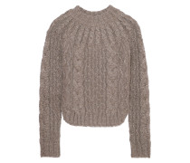Zopfstrickpullover in Metallic-optik