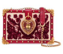 Dolce Box Schultertasche aus Jacquard, Samt und Leder