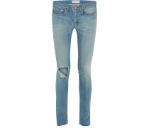 Halbhohe Skinny Jeans in Distressed-optik