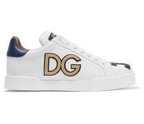 Sneakers aus Leder mit Logoapplikationen