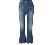W5 Empire Crop Verkürzte, Hoch Sitzende Bootcut-jeans in Distressed-optik