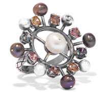 Ring aus Oxidiertem  mit Kristallen und Perlen