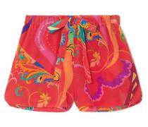 Shorttaku Bedruckte Shorts aus Crêpe De Chine aus Seide