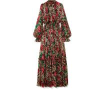 Bedruckte Robe aus Seidenchiffon mit Falten