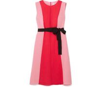 Zweifarbiges Kleid aus Voile mit Gürtel