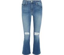 Le Crop Mini Halbhohe Bootcut-jeans in Distressed-optik