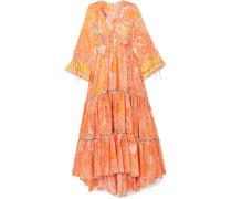 Gestufte Robe aus Crêpe De Chine aus Seide