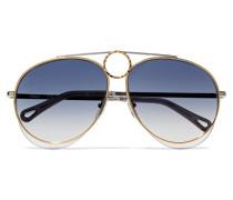 - und Silberfarbene Pilotensonnenbrille