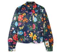 Jacke aus Seidensatin mit Blumenprint