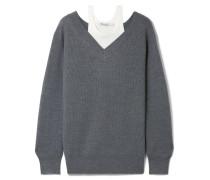 Mehrlagiger Pullover aus einer Gerippten Merinowollmischung und Baumwolle