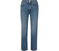 Verkürzte, Halbhohe Jeans mit Geradem Bein
