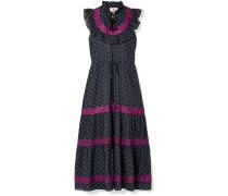 Lila Kleid aus Besticktem Baumwoll-voile