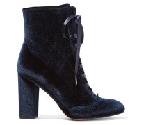 Clementine Geschnürte Ankle Boots Aus Samt -