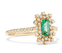 Ring aus 18 Karat  mit Diamanten und Smaragd