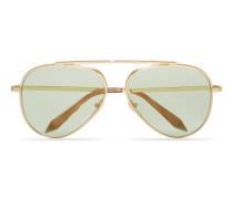 Victoria Beckham Loop Aviator Sonnenbrille aus dunkelem grauem Metall mC6g7ujb