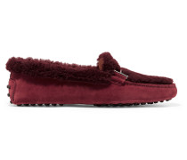 Gommini Loafers aus Veloursleder und Shearling
