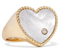 Ring aus 9 Karat  mit Perlmutt und Diamant