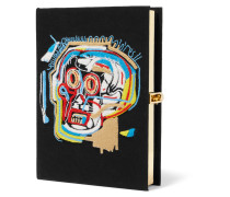Basquiat Skull Clutch aus Canvas