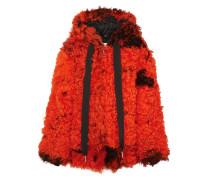 Oversized-mantel aus Shearling mit Kapuze