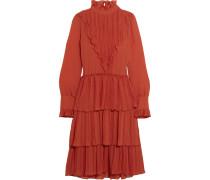 Gestuftes Kleid aus Chiffon mit Rüschen
