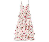 Gestuftes Kleid aus Crêpe mit Blumendruck