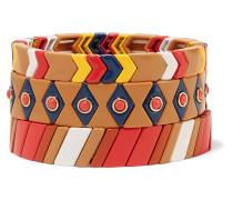 Milano Set aus Drei Emaillierten und Goldfarbenen Armbändern