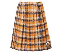 Karierter Rock aus Woll-tweed mit Falten