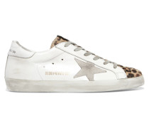 Superstar Sneakers aus Kalbshaar Mir Leopardenprint, Distressed-leder und Veloursleder