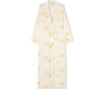 Peignoir Wickelkleid aus Bedrucktem Crêpe De Chine aus Seide
