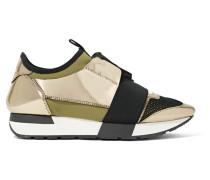 Race Runner Sneakers aus Metallic-leder, Mesh und Neopren