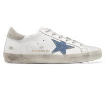 Superstar Sneakers aus Leder und Denim in Distressed-optik