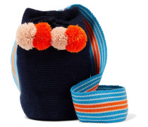 Lulu Beuteltasche mit Pompons in Häkeloptik