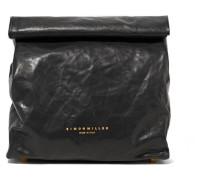 Lunchbag 20 Clutch aus Leder in Knitteroptik