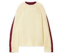 Zweifarbiger Oversized-pullover aus einer Woll-mohairmischung