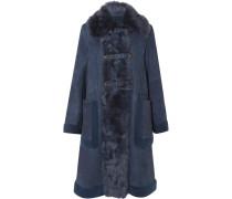 Mantel aus Veloursleder mit Shearling-besatz