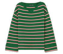 Gestreifter Oversized-pullover aus einer Woll-baumwollmischung
