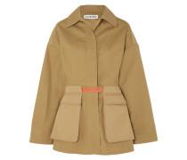 Jacke aus Baumwoll-twill mit Lederbesatz