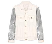 Nanopo Jacke aus Paillettenverziertem Jersey und Denim