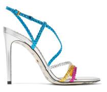 Haines Slingback-sandalen aus Geflochtenem Metallic-leder