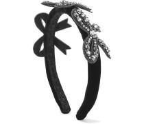 Haarband aus Samt mit Kristallverzierungen