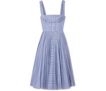 Kariertes Kleid aus Beschichteter Popeline