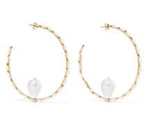 Ginger Goldfarbene Creolen mit Perlen