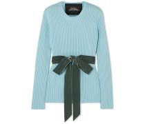 Gerippter Pullover aus Wolle mit Samtbesatz