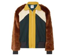 Trainingsjacke aus Jersey, Faux Fur und Shearling-imitat in Colour-block-optik