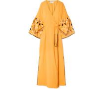 Besticktes Wickelkleid aus Baumwolle in Knitteroptik