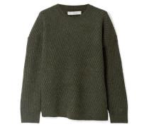 Asymmetrischer Pullover aus einer Gerippten Wollmischung