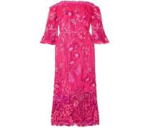 Schulterfreies Kleid aus Guipure-spitze